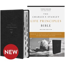 KJV Charles F. Stanley Life Principles Bibles, 2nd Edition - Black Leathersoft, Thumb Indexed BB-KJLBL-I